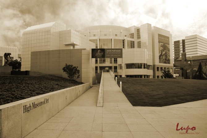 High Museum of Art, Peachtree Street, Atlanta, GA. Taken 4 September 2009, with a Nikon D60 DSLR. Same image as above, only edited to give it a sepia tone.
