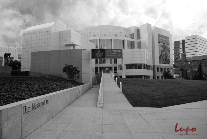 High Museum of Art, Peachtree Street, Atlanta, GA. Taken 4 September 2009, with a Nikon D60 DSLR. Edited same as above, only rendered as a black and white photo.