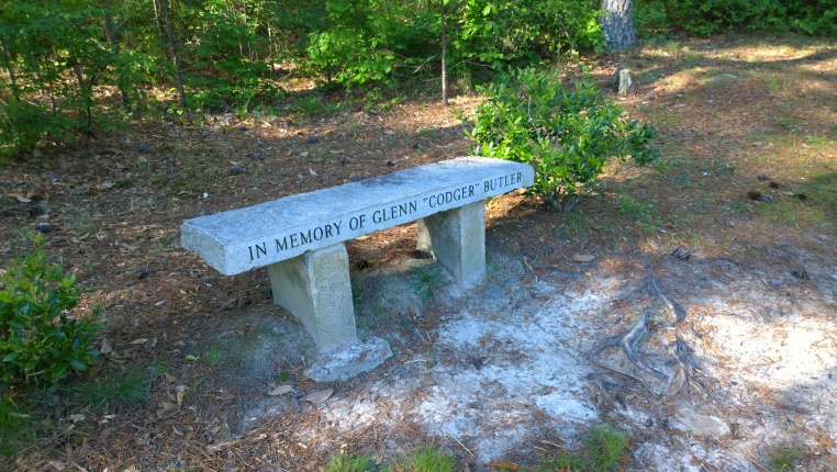 "Bench in memory of Glenn ""Codger"" Butler, Stone Mountain, GA, 3 May 2014; taken with a Nokia Lumia 1020."