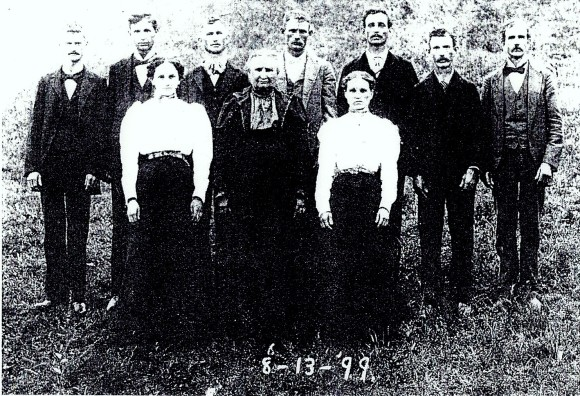 Isaac Joseph Hawkins, far left, from a photo posted to Ancestry entitled, Nancy Jane Sowder Hawkins b 1843 TN and Children 1899 Lawrence or Monroe County IN Dawn Warner Perry 2010 (user gmahug). Used with permission.